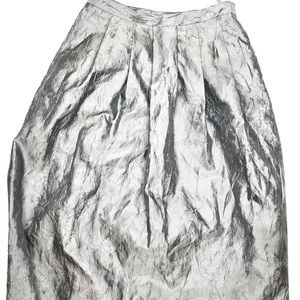 ISDA & Co. Metallic Silver Crushed Poly Maxi Skirt
